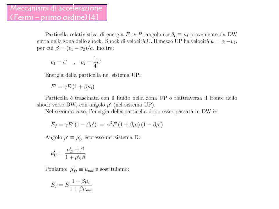 Meccanismi di accelerazione (Fermi – primo ordine)[4]